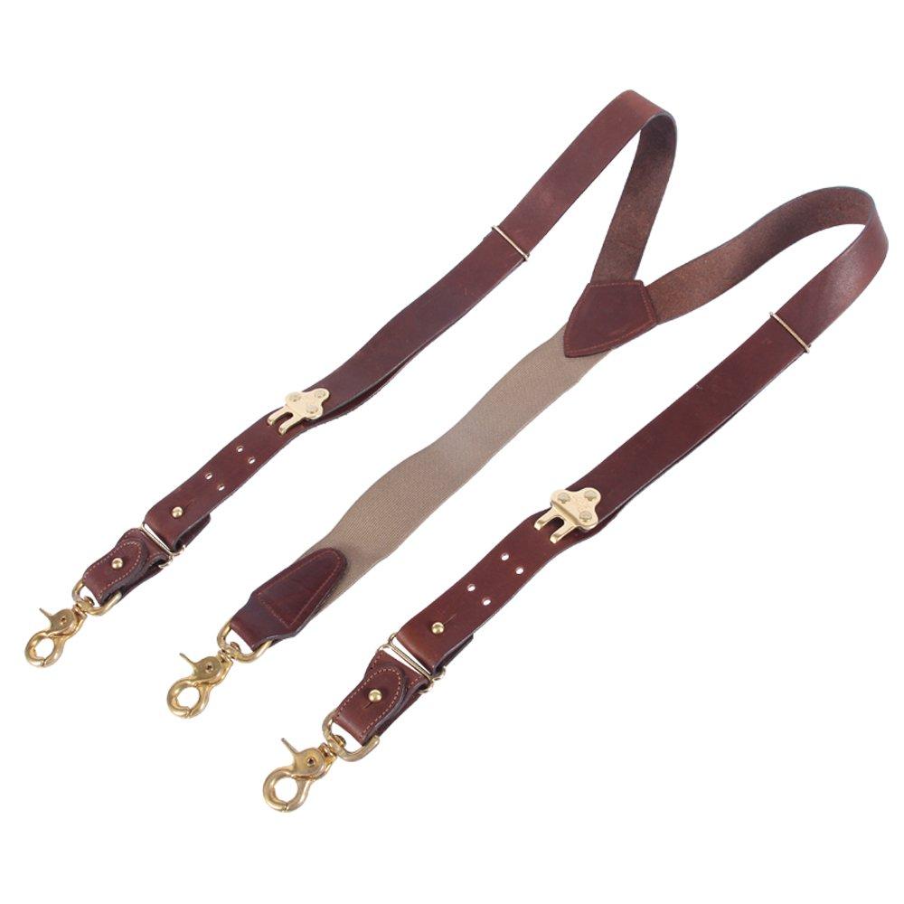 Leather Suspenders Braces Adjustable Design Brown Brass Snaphooks Scissor Hook Snap No2 USA Made by Col. Littleton