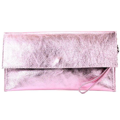 modamoda de - Made in Italy - Cartera de mano para mujer M151 Rosa Metallic
