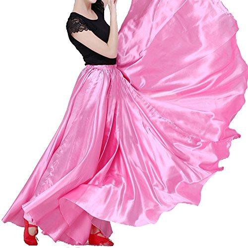 Satin Circle Skirt (Backgarden Women's 20 Yard Floor Length Circle Satin Dance Skirt Party Performance Maxi, XS~2XL,Pink)