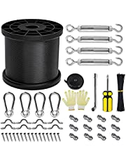 String Light Hanging Kit, 200FT Outdoor Globe String Lights Suspension Kit, Vinyl Coated Wire Rope Wire, Enough Accessories, Turnbuckle and Hooks, Easy to Install (Black, 200FT)
