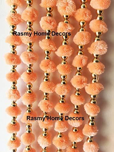 Buy Rasmy Home Decors Orange Woollen Pom Pom Garlands With Bell