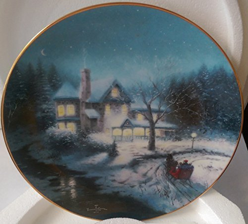 Thomas Kinkade Cherished Yuletide Memories \'MOONLIT SLEIGH RIDE \' 1993 Collectors Plate Thomas Kinkade Cherished Yuletide Memories MOONLIT SLEIGH RIDE 1993 Collectors Plate