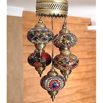 Turkish Moroccan Handmade Mosaic Hanging Ceiling Lantern Lamp Pendant Light Fixture Lighting Chandelier 5 Big Globes Chandeliers