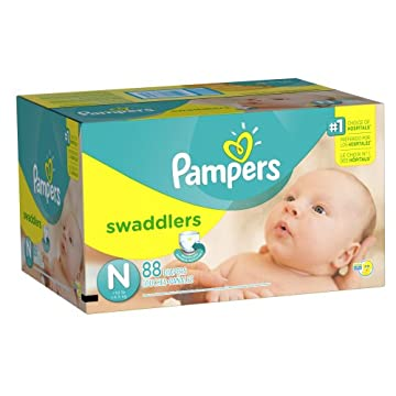 Pampers Swaddlers Diapers (Size N, Newborn less than 10lbs, Pack of 88)