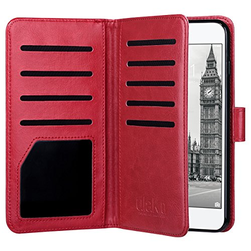 ULAK Flip Wallet Case for iPhone 8 Plus/iPhone 7 Plus, PU Leather Case with Multi Credit Card Holders Pockets Folio Magnetic Closure Cover for Apple iPhone 7 Plus/8 Plus (Red)