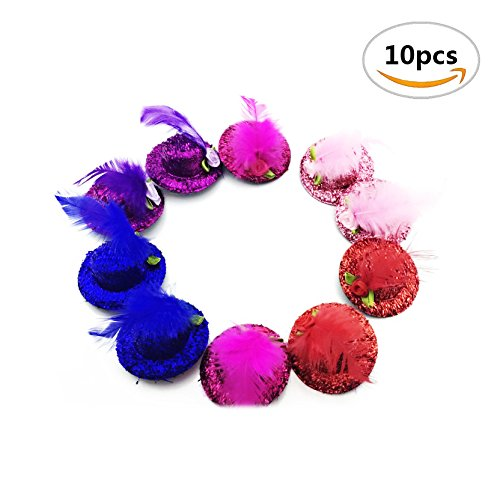 [10PCS Sc0nni Baby Mini Top Hat Hair Clip/Girls Hair Accessories Fascinator Party Hats Dancing Cocktail Feather Headband Hair] (Mini Top Hats)