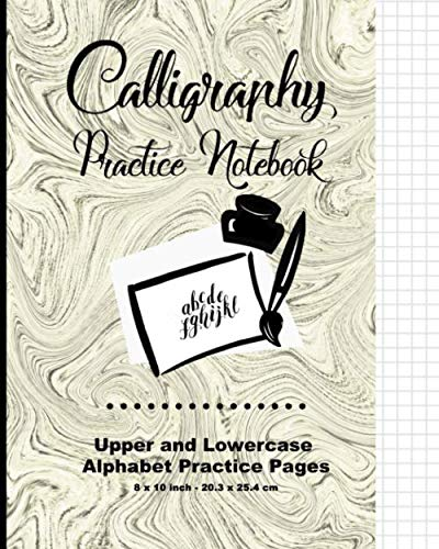 Calligraphy Practice Notebook: Swirl Print Green , Calligraphy Writing Paper, Upper & Lowercase Alphabet Guide For Calligraphy Lettering and Design Practice