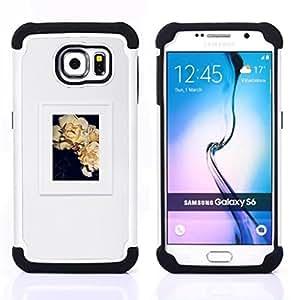 - poster grey floral art frame picture - - Doble capa caja de la armadura Defender FOR Samsung Galaxy S6 G9200 RetroCandy