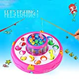 Fishing Toy,TOWERPRO Fish Game Electric Rotating Magnetic Fishing Gaming for Parent Child Interaction Imagination (Double Layer)