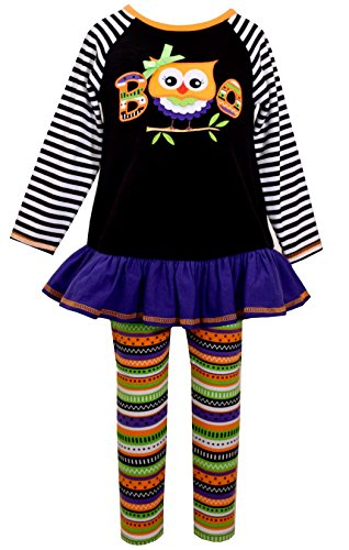 Bonnie Jean Liitle Girls Striped Boo Owl Halloween Pant Set 3T]()