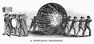 Harrison Campaign 1840 Nwilliam Henry HarrisonS Whig Supporters Rolling A Paper Ball From City To City And On To Washington DC During The Presidential Campaign Of 1840 Engraving 19Th Century Poster Pr