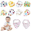 Labebe Hessie Series Baby Bandana Drool Bibs, Unisex 10-pack Absorbent Cotton, Cute Baby Gift for Boys & Girls (A-j)