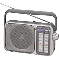 "Panasonic 2 Band Receiver Portable AM & FM Transistor Radio with Large Dial Panel, LED Tuning Indicator, 4"" Speaker, Earphone Jack, Carry Handle, Easy Tuner Knob, Headphone Jack & AC Power Cord - Silver - Also Works on Batteries"