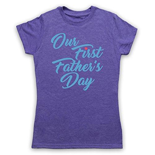 Our First Father's Day Baby Son Camiseta para Mujer Morado Clásico