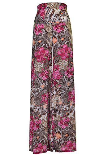 VIV Collection Stretchy Wide Leg Printed Palazzo Pants (Large, ()
