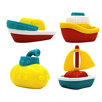 F-blue 4pcs/Set Baby Bath Boats Bathtub Pool Baby Bath Boats Play Water Fun Toys Children Early Learning Educational Toy: Home & Kitchen [5Bkhe0306211]