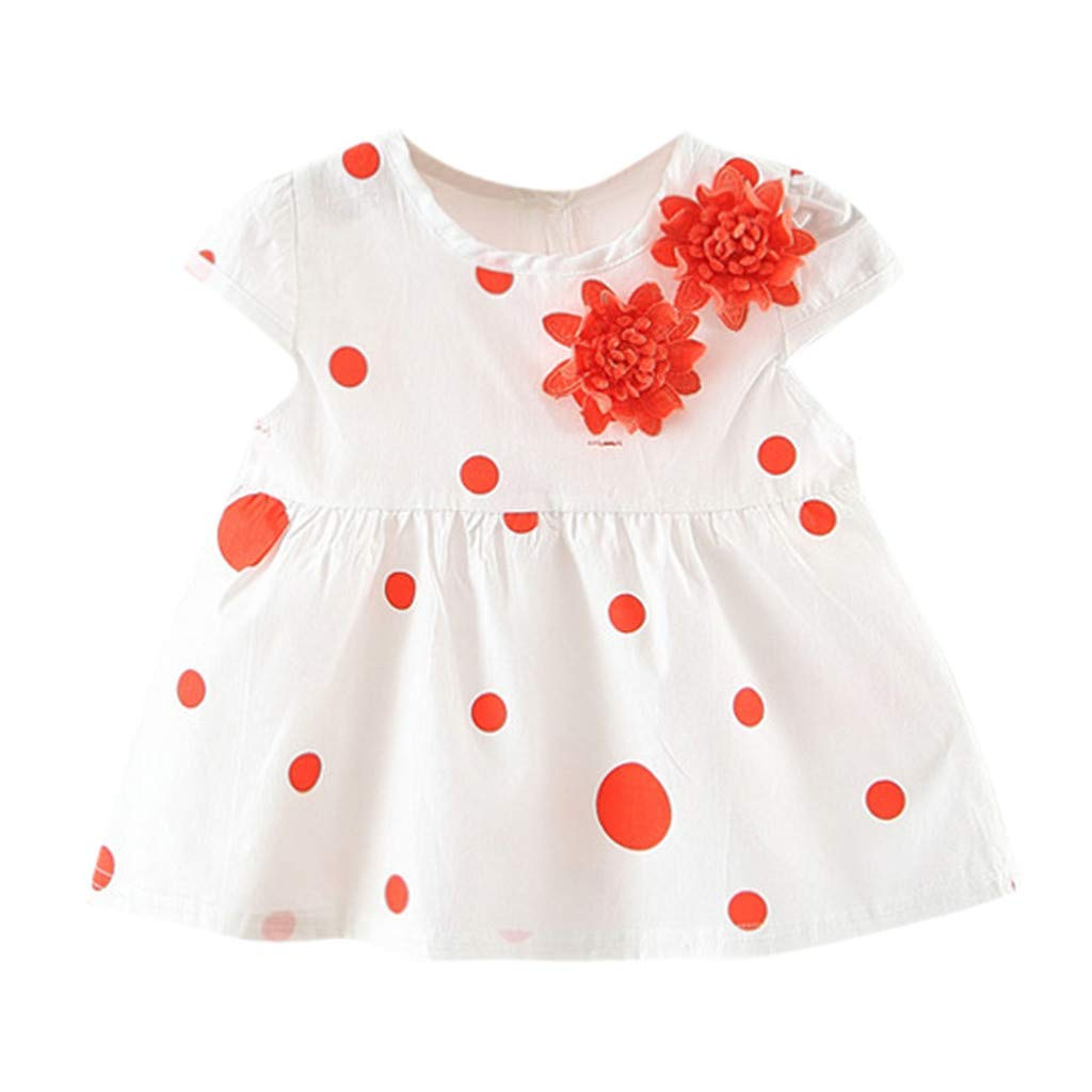 NUWFOR Toddler Baby Kids Girls Dot Flowers Skirt Princess Dresses Casual Clothes(Orange,18-24Months)