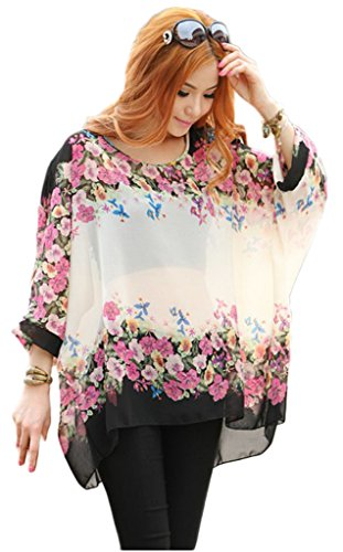 Toyobuy Floral Chiffon Bating Loose Beach Cover Up Blouse Shirt Top White L by Toyobuy