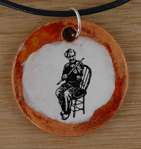 Orginal handicraft: Fiddle, violin, string instrument, musician, violinist, fiddle, fiddler, violin, Amati, Antonio Stradivari, jewellery, jewelry, handcrafted necklace, best gift, art, ceramic