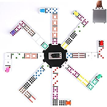 Double 12 Dominoes Games Set with Mexican Trains-Set of 91 Dot Melamine Dominoes with Aluminum Case for Christmas Eve by Kaile