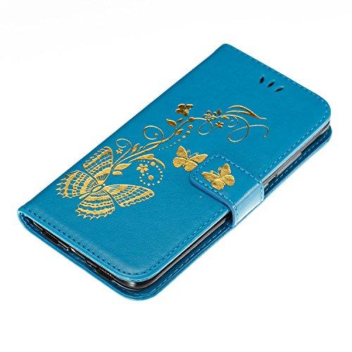 Funda Huawei Nova Plus, Huawei Nova Plus Piel Carcasa Flip Case Cover Libro Premium PU Leather Cuero Carcasa Funda-EUWLY Elegante Estuche Caja Con Ultra Delgado Suave TPU Silicona Case Cubierta Fina P Mariposa Dorada,Azul