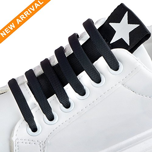 DOOLLAND No Tie Shoelaces, no tie shoelaces for adults | Silicone Flat Elastic Shoe Laces | Lock Bands for board shoes, athletic shoes, sneakers, casual shoes, hiking boots, fancy shoes (Fancy Elastic)