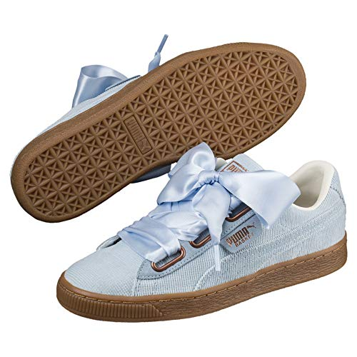 Pumas Dame Panier Coeur Bleu Sneaker Brevet