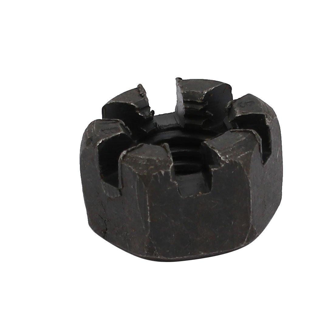 sourcingmap/® 5pcs M10x1.5mm Carbon Steel Grade 8 Hexagon Slotted Castle Nut Black