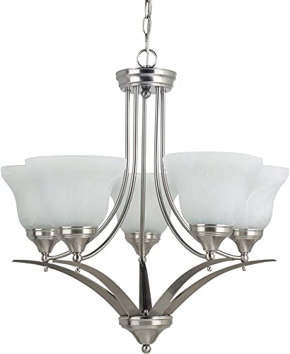 Sea Gull Lighting 31174-962 Chandelier with White Alabaster Glass Shades, Brushed Nickel Finish