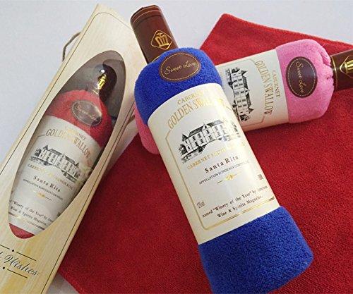 Creative Red Wine Bottle Shape Washcloth Bath Shower Face Soft Cotton Towel Gift