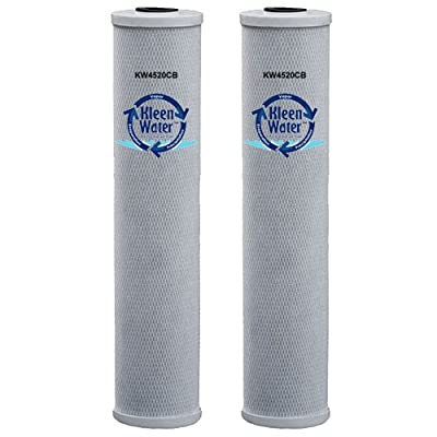KleenWater Activated Carbon Block Water Filters, 4.5 x 20 Inch Brand Replacement Cartridges (2)