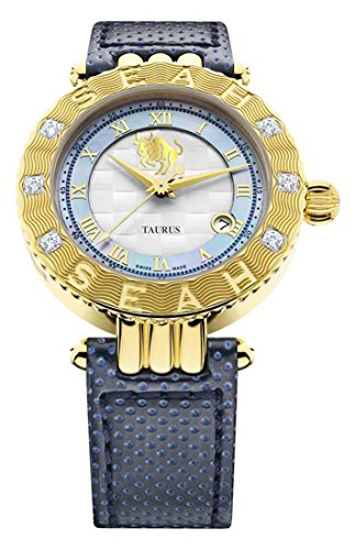 Seah Empyrean Zodiac Sign Taurus, 42mm 18K Yellow Gold-Tone, Swiss Made Automatic, Luxury Diamond -