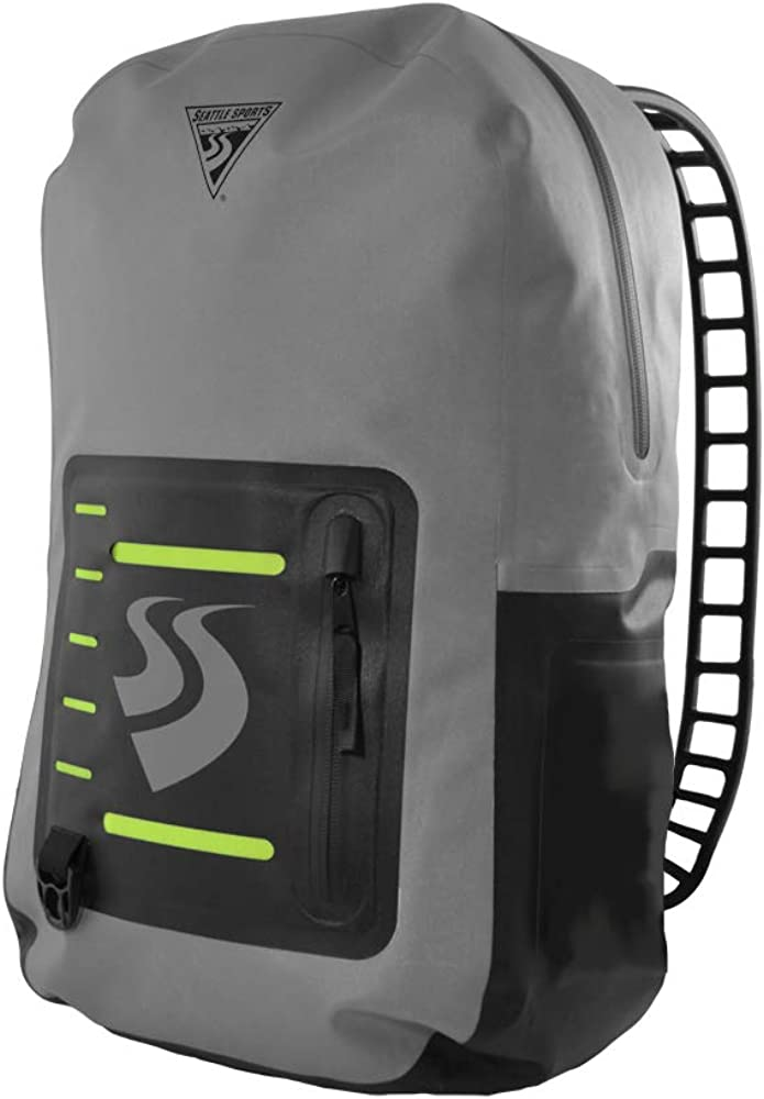 Seattle Sports LocoDry Splash PacknModPok - Lightweight 20L Waterproof Dry Bag Backpack with Breathable Silicone Shoulder Straps, Gray/Black