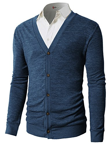 H2H Mens Casual Cardigan Sweaters For Men Fashion Pullover Cashmere Sweater Hoodie Blue US S/Asia M (CMOCAL023)