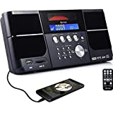 DPNAO Cd Player Portable Boom Box with FM Radio Clock USB SD Aux Line-in for Home Kids