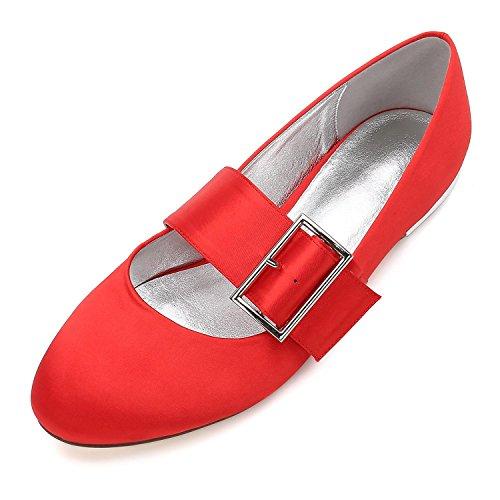 L@YC Boda de Las Mujeres Zapatos 5049-23 Bombas Satén Closed Toe Hebilla Plana Heel Wedding Party Dress Zapatos de La Corte Red