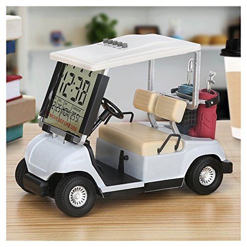 LCD display Mini Golf Cart Car Model Clock Race souvenir novelty gifts(white)