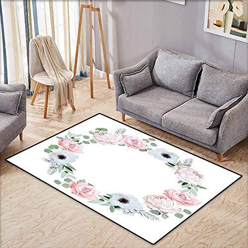 - Pet Rug,Anemone Flower,Delicate Peony Rose Brunia Eucalyptus Leaves Round Wreath,Anti-Slip Doormat Footpad Machine Washable,4'7