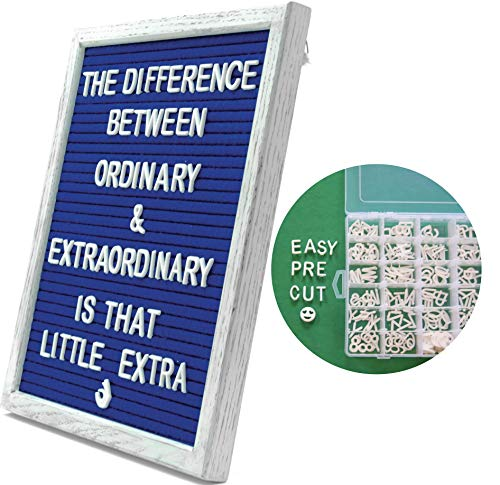 (Blue Felt Letter Board with Vintage White Rustic Wood 10X12 Inch Frame. Includes 340 Changeable PRE-Cut Letters, Numbers & Emojis with Organizer Box | Kickstand, Wall Hook & Rope Mounting)