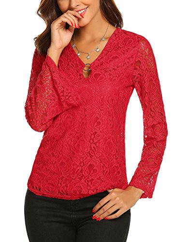 Womens Long Sleeve Floral Lace Blouse V Neck Keyhole Casual A-line Tops Red M