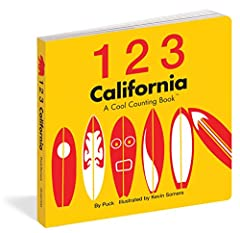Kids will count to 10 using some of California's most beloved symbols—the Golden Gate Bridge, the Hollywood sign, grapes, surf boards, and San Francisco's cable cars—in this board book featuring contemporary illustrations, dazzling col...