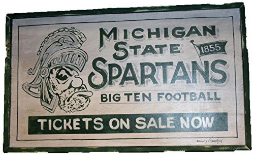 Michigan State Spartans NCAA 18x29'' White Tickets Hand Made Wooden Barn Sign