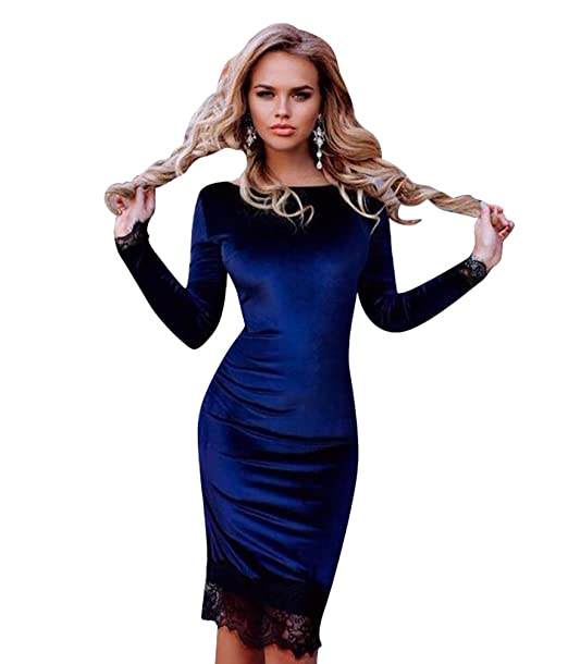 YuanDian Mujeres Velvet vestidos de moda vestido manga larga encaje empalme vestidos de terciopelo XL Azul
