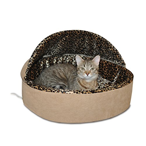 K&H Pet Products Thermo-Kitty Heated Pet Bed Deluxe Small Tan/Leopard 16