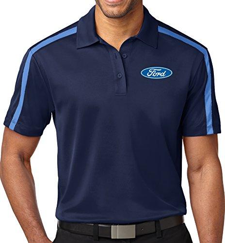 Mens Ford Oval Colorblock Stripe Polo Shirt (Pocket Print), Medium Navy/Carolina Blue