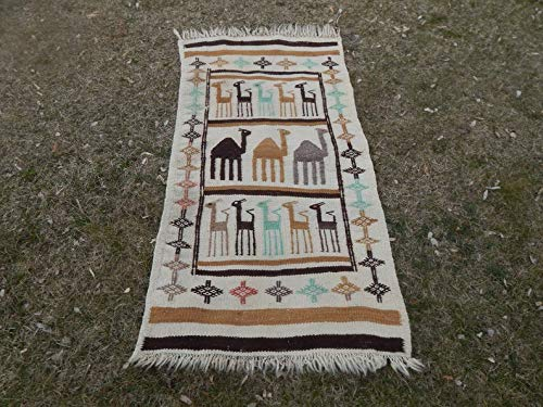 Animals Wool Tapestry - Animal Pattern Wool Tapestry Kilim Rug, Vintage Oriental Tapis Kilim, Petite Small Turkish Textile Flat Weave Rug 2'4'' X 4'6'' (70 x 137 Cm)