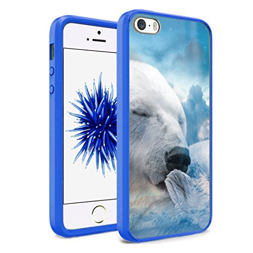 iPhone SE Case, iPhone 5s / iPhone 5 Case, Capsule-Case Hybrid Slim Hard Back Shield Case with Fused TPU Edge Bumper (Blue) for iPhone SE / iPhone 5s / iPhone - North Mall River