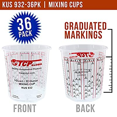 Custom Shop - Pack of 36 Each - 32 Ounce Graduated Paint Mixing Cups - Cups are Calibrated with Multiple Mixing Ratios - Also Includes 12 Lids: Kitchen & Dining