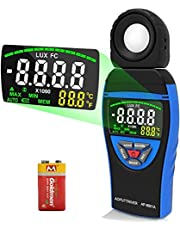 AOPUTTRIVER AP-8801A Light Meter Lux 0.1~400,000Lux Colorful Screen Light Meter Photography Lux Meter Temperature with Data Hold + Max/Min + Data Storage + Lux/FC(Battery Included)