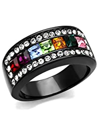 Women's Black Stainless Steel Multicolor Crystal Band Ring